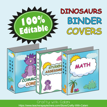 Teacher's Binder Cover in Cute Dinosaurs Theme - 100% Editable