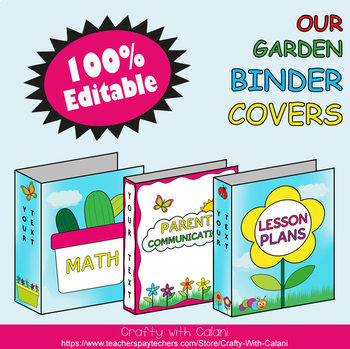 Teacher's Binder Cover in Flower & Bugs Theme - 100% Editable