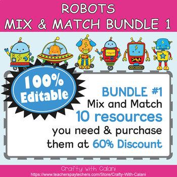 Teacher's Binder Cover in Robot Theme - 100% Editable