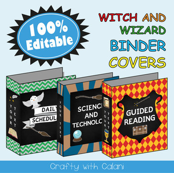 Teacher's Binder Cover in Witch & Wizard Theme - 100% Editable