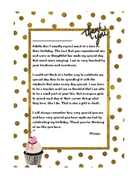 teachers birthday thank you letter teachers birthday thank you letter