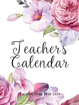 2018-2019 Teacher's Calendar- Floral Design