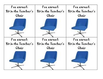 Teacher's Chair Reward Ticket