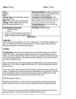 Teacher's College 4th Grade Unit 4 Lesson 1