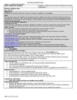 Teacher's College(TC)Writing Unit Writing For Readers Lesson Plans- Kindergarten