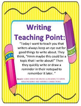Teacher's College (TC) Writing Workshop Teaching Points: Kindergarten