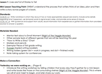 Teacher's College Writing - Grade 1, Unit 1 (Small Moments)