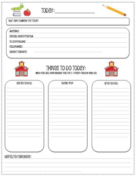 Teacher's Daily Planning Sheet