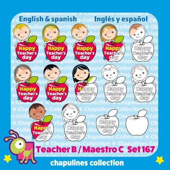 Teacher's Day Clipart Bundle color & black/white Teacher Appreciation Set 167