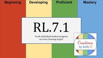 Teacher's Digital Data Tracker for Every Student, Grade 7 Reading (Common Core)