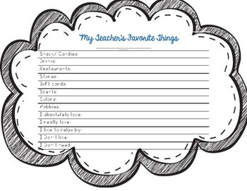 graphic about Teacher Favorite Things Printable identified as Academics Favourite Aspects Worksheets Education Products TpT
