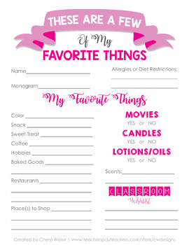 picture regarding Teacher Favorite Things Questionnaire Printable referred to as Academics Preferred Variables Worksheets Coaching Elements TpT
