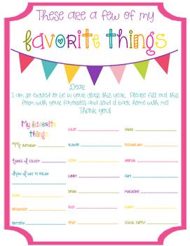 Teacher's Favorites Form
