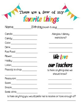 photograph regarding Teacher Favorite Things Questionnaire Printable identify Instructor Favorites Record Worksheets Schooling Products TpT