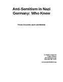 Teacher's Guide to Anti-Semitism in Nazi Germany: Who Knew