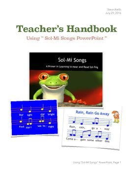 "Teacher's Manual for ""Sol-Mi Songs"" PowerPoint"
