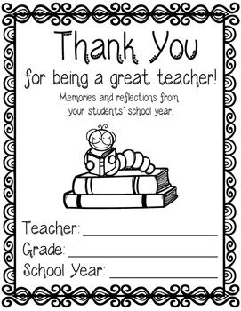 Teacher's Memory Book - Thank you gift TO teachers