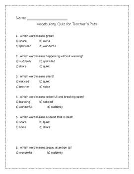 Teacher's Pets vocabulary quiz - Journeys Unit 1, lesson 5