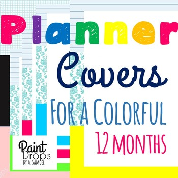 Teacher's Planner Binder Covers and Spines for 12 Months