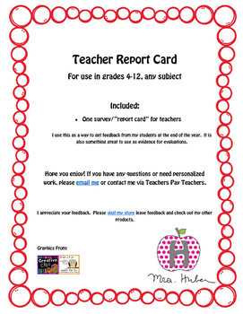 Teacher's Report Card