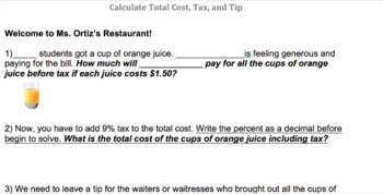 Teacher's Restaurant to Introduce Tax and Tip