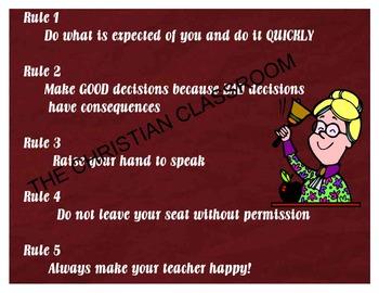 Teacher's Rules poster