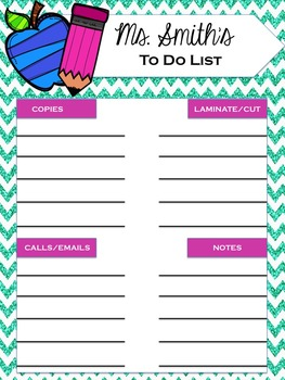 Teacher's To Do List - Blue Glitter Chevron
