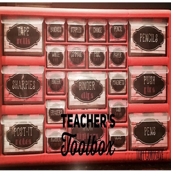 Teacher's Toolbox - Distressed Wood & Coral {Dollar Deals}