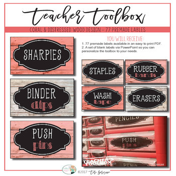 Teacher's Toolbox - Distressed Wood & Coral {Dollar Deals}