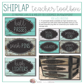 Teacher's Toolbox - Distressed Wood & Teal {Dollar Deals}