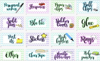 Teacher's Toolbox Labels Editable! Stationary Resource Labels Bright Pastel