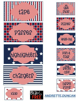 Stack On Teacher's Toolbox PATRIOTIC 22 drawer labels red white blue