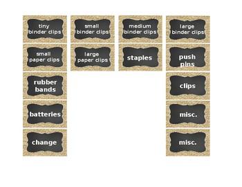 Teacher's Toolbox! Burlap & Chalkboard - 18 or 22 Drawer Labels