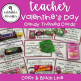 Valentine's Day Cards for Teacher to Give to Students w/ Candy Theme