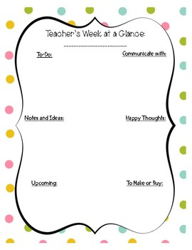 Teacher's Week at a Glance