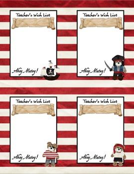 Pirate Theme Teacher's Wish List