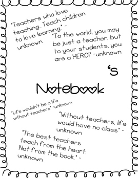 Teacher's notebook/planner (ALL EDITABLE PDFs)