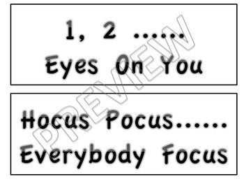 Teacher to Student Attention Call Backs Black and White Version