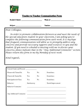 Teacher to Teacher Communication Form