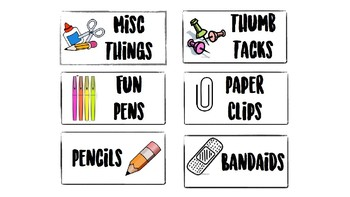 Teacher toolbox and 3 drawer labels