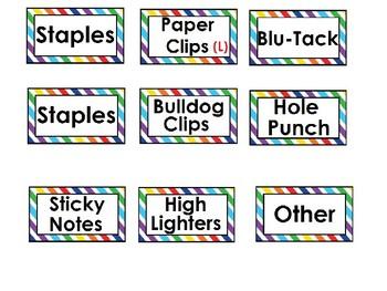 Teacher toolbox rainbow border labels (editable)