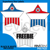Teacher toolkit freebie - Superhero Star Labels Clip Art F