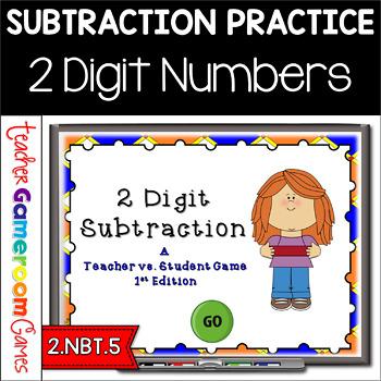 Teacher vs. Student - 2 digit Subtraction PPT Game