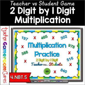 Teacher vs. Student - 2 Digit by 1 Digit Multiplication Powerpoint Game