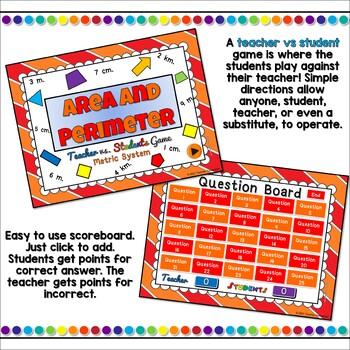 Teacher vs. Student - Area &  Perimeter (Metric System) PPT Game