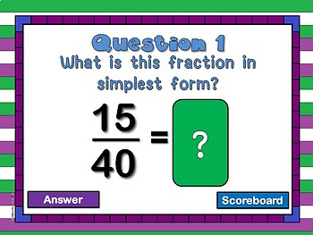 Teacher vs. Student Simplest Form PPT Game