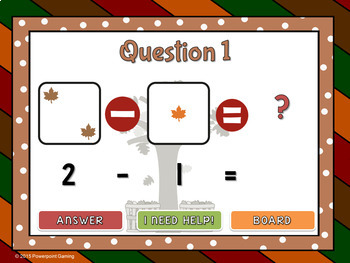 Subtract within 5 - Fall Edition Powerpoint Game