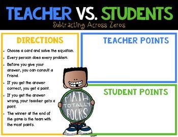 Teacher vs. Student - Subtraction Across Zeros