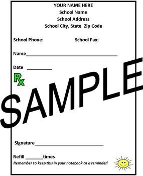 Teacher/Counselor Prescription Pad/4 to a page