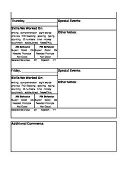 Teacher/Parent Communication Log for Special Education